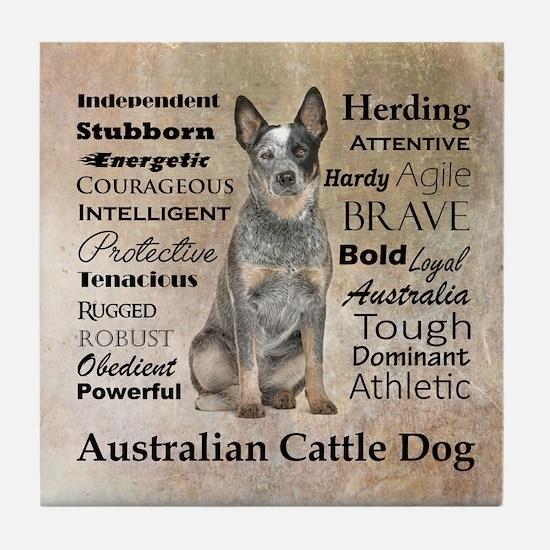 Cattle Dog Traits Tile Coaster