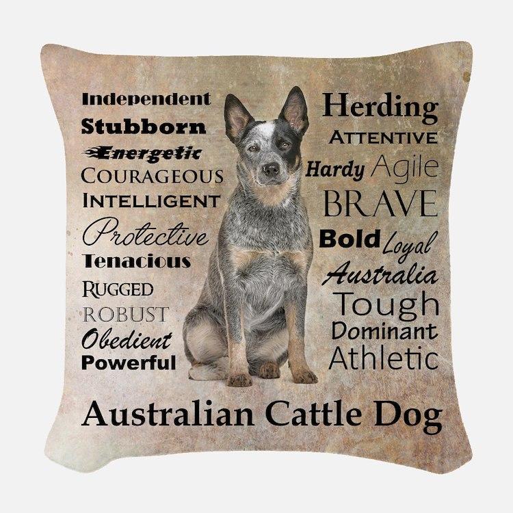 Cattle Dog Traits Woven Throw Pillow