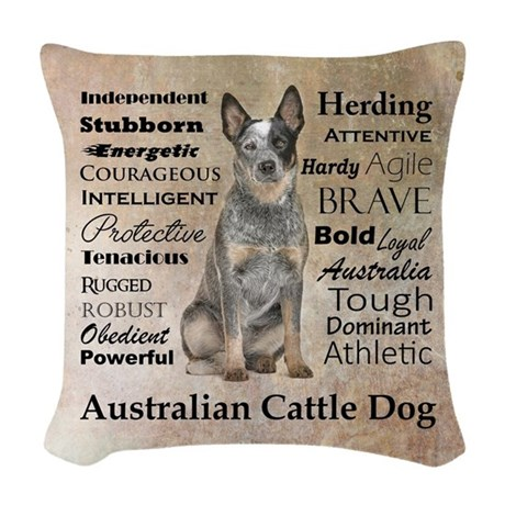 cattle dog traits woven throw pillow