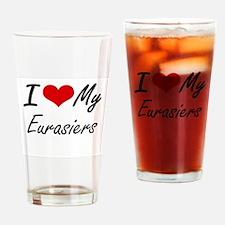 I Love my Eurasiers Drinking Glass
