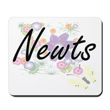 Newts artistic design with flowers Mousepad