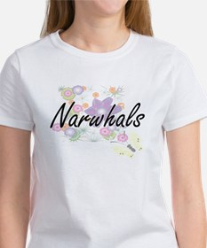 Narwhals artistic design with flowers T-Shirt