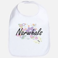 Narwhals artistic design with flowers Bib