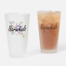 Narwhals artistic design with flowe Drinking Glass