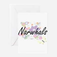Narwhals artistic design with flowe Greeting Cards