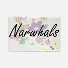 Narwhals artistic design with flowers Magnets