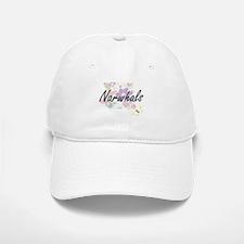 Narwhals artistic design with flowers Baseball Baseball Cap