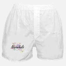 Narwhals artistic design with flowers Boxer Shorts