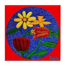 Flowers on Round Canvas (Red) Tile Coaster