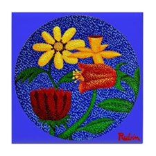 Flowers on Round Canvas (Blue) Tile Coaster