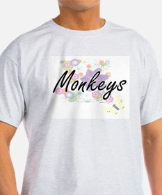 Monkeys artistic design with flowers T-Shirt
