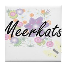 Meerkats artistic design with flowers Tile Coaster