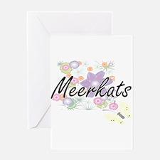 Meerkats artistic design with flowe Greeting Cards