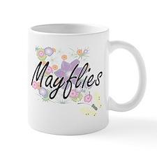 Mayflies artistic design with flowers Mugs