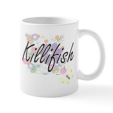 Killifish artistic design with flowers Mugs