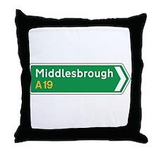 Middlesbrough Roadmarker, UK Throw Pillow