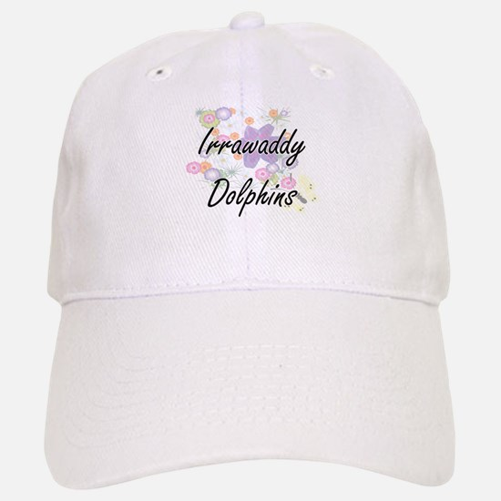Irrawaddy Dolphins artistic design with flower Baseball Baseball Cap