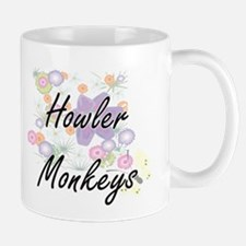 Howler Monkeys artistic design with flowers Mugs