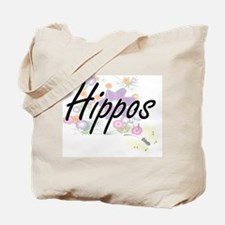 Hippos artistic design with flowers Tote Bag