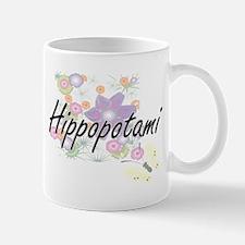 Hippopotami artistic design with flowers Mugs