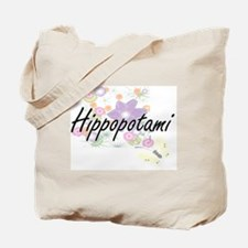Hippopotami artistic design with flowers Tote Bag