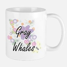 Gray Whales artistic design with flowers Mugs