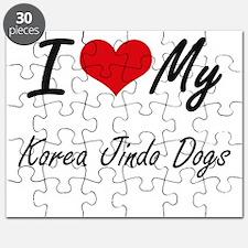 I Love my Korea Jindo Dogs Puzzle