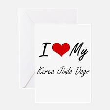 I Love my Korea Jindo Dogs Greeting Cards