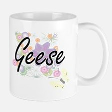 Geese artistic design with flowers Mugs