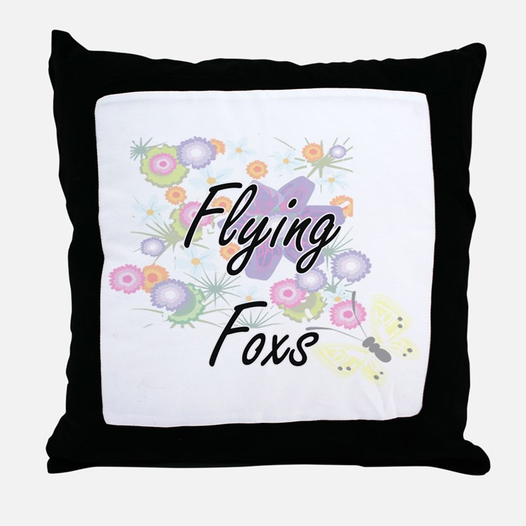 Flying Foxs artistic design with flow Throw Pillow