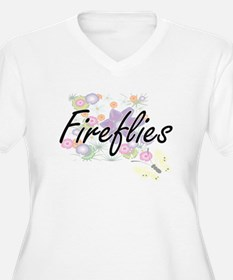 Fireflies artistic design with f Plus Size T-Shirt