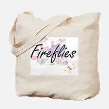 Fireflies artistic design with flowers Tote Bag