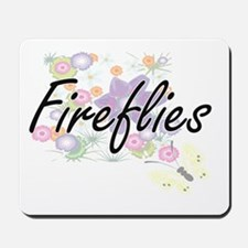 Fireflies artistic design with flowers Mousepad