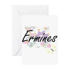 Ermines artistic design with flower Greeting Cards