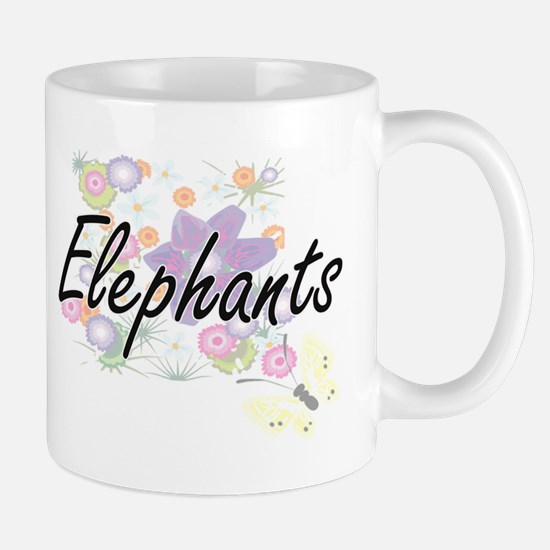 Elephants artistic design with flowers Mugs
