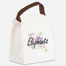 Elephants artistic design with fl Canvas Lunch Bag