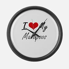 I Love my Maltipoos Large Wall Clock