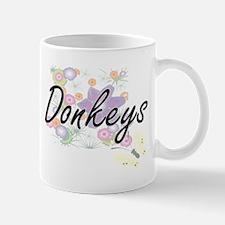 Donkeys artistic design with flowers Mugs