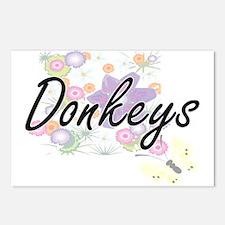Donkeys artistic design w Postcards (Package of 8)