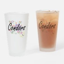 Condors artistic design with flower Drinking Glass