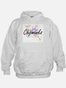 Chipmunks artistic design with flowers Hoodie