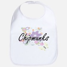 Chipmunks artistic design with flowers Bib