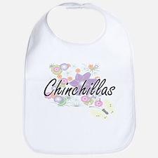 Chinchillas artistic design with flowers Bib