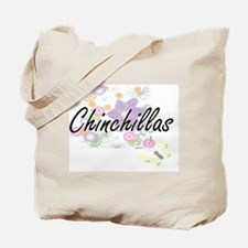 Chinchillas artistic design with flowers Tote Bag