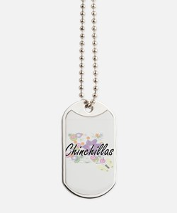 Chinchillas artistic design with flowers Dog Tags