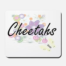 Cheetahs artistic design with flowers Mousepad