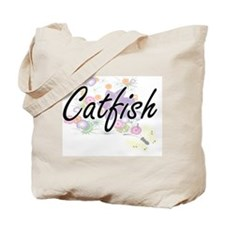 Catfish artistic design with flowers Tote Bag