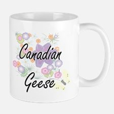 Canadian Geese artistic design with flowers Mugs