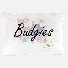 Budgies artistic design with flowers Pillow Case