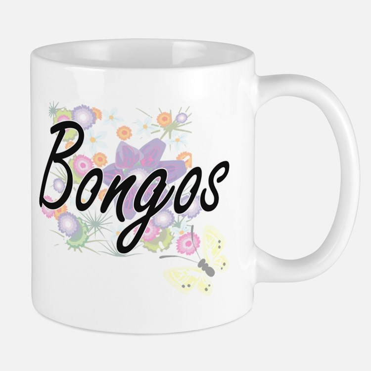 Bongos artistic design with flowers Mugs